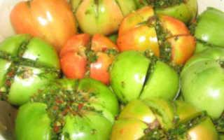 Фаршированные зеленые помидоры на зиму: с чесноком, горячим перцем, травами, морковью